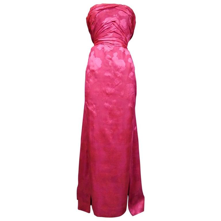 A Cristobal Balenciaga Damask Chiffon Couture Evening Dress Circa 1960 For Sale