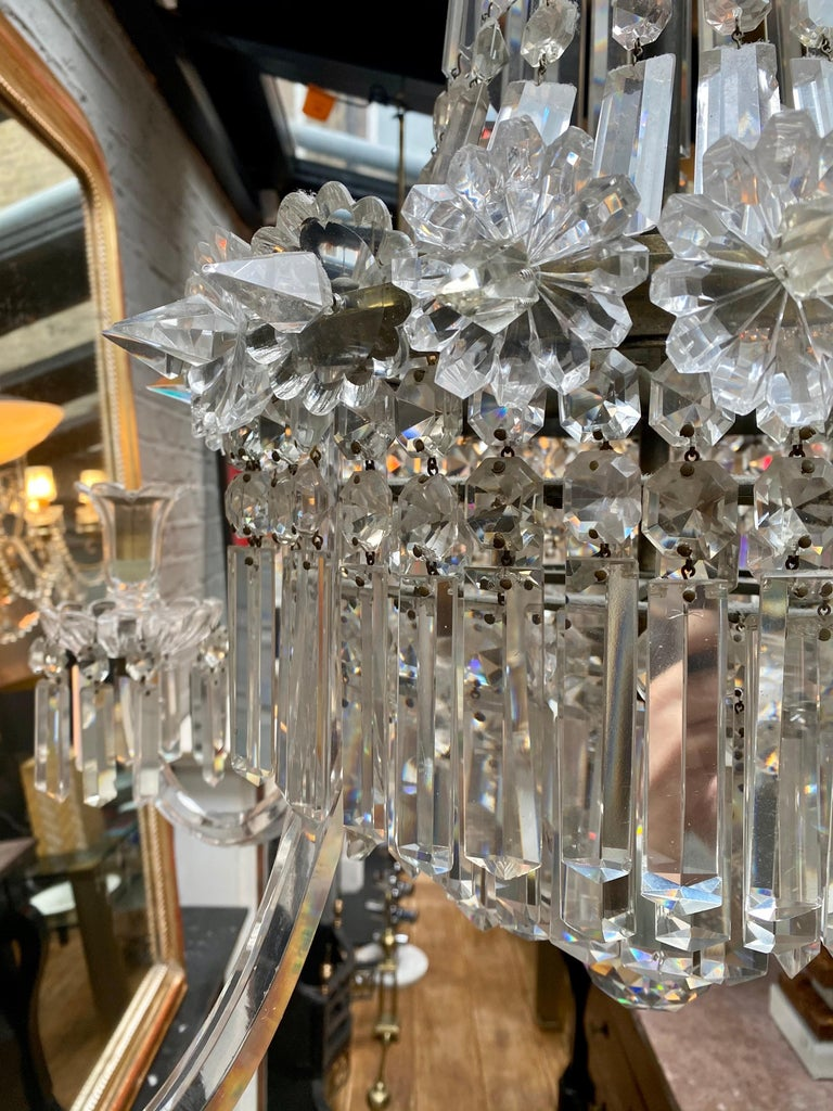 Crystal and Bronze Empire Style Chandelier For Sale 5