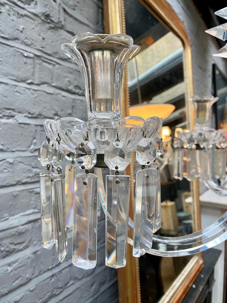 Crystal and Bronze Empire Style Chandelier For Sale 6