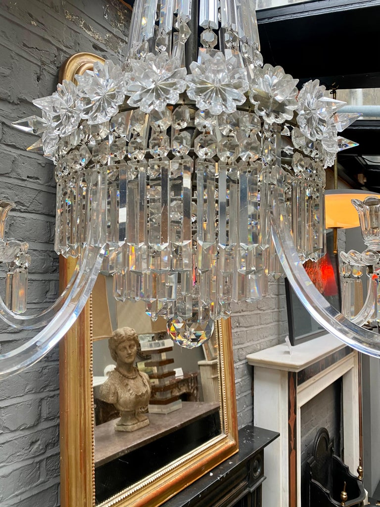 European Crystal and Bronze Empire Style Chandelier For Sale