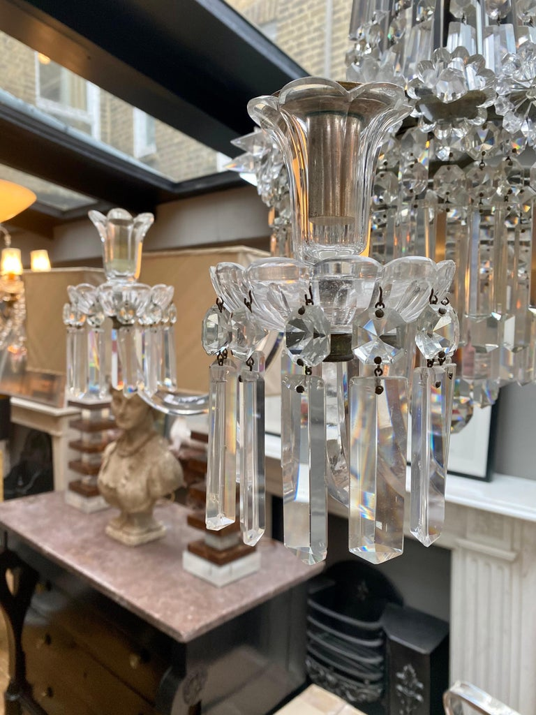 Crystal and Bronze Empire Style Chandelier In Good Condition For Sale In London, GB