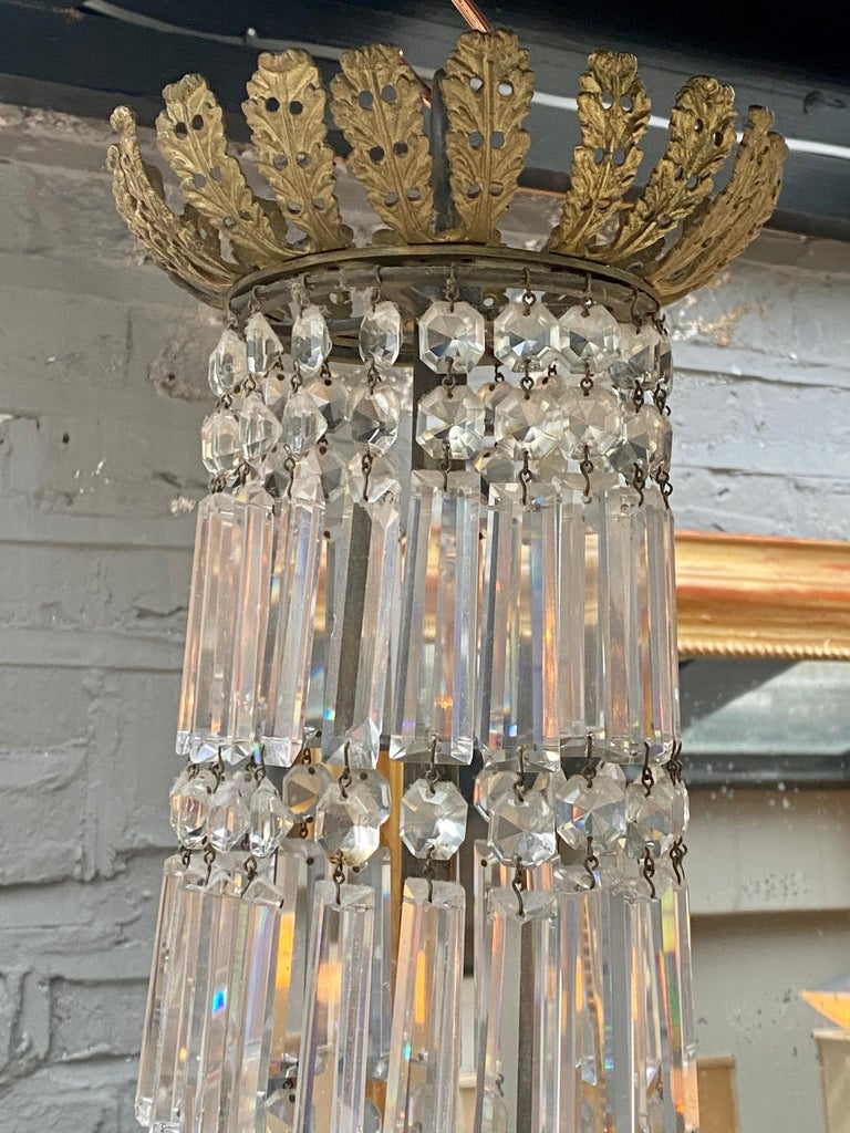 Crystal and Bronze Empire Style Chandelier For Sale 1
