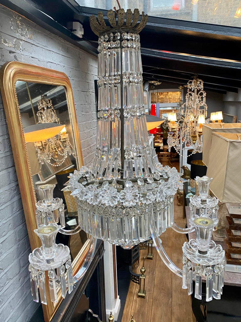 Crystal and Bronze Empire Style Chandelier For Sale 3