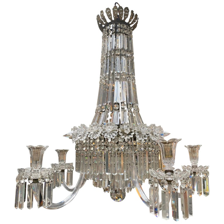 Crystal and Bronze Empire Style Chandelier For Sale