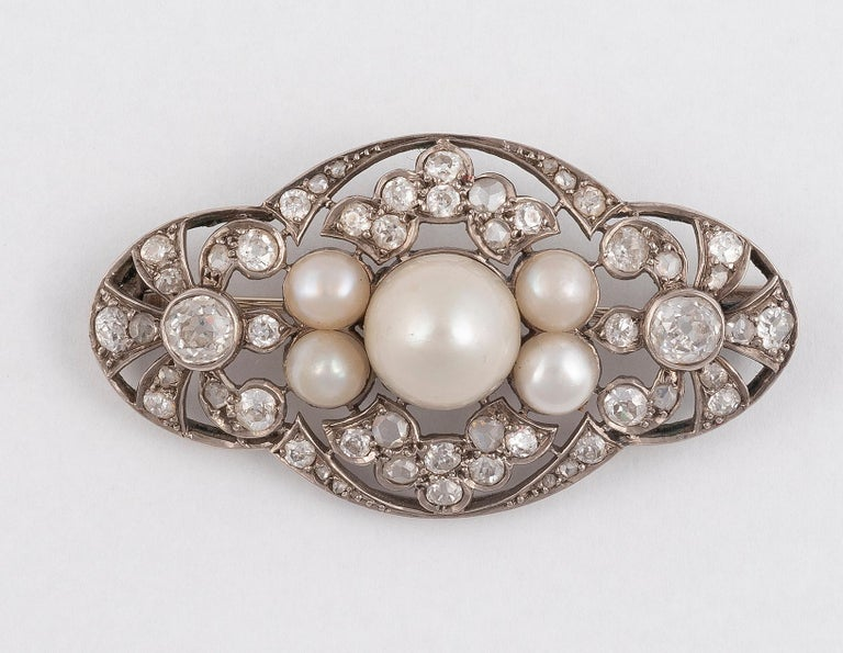 Retro Cultured Pearl and Diamond Brooch For Sale