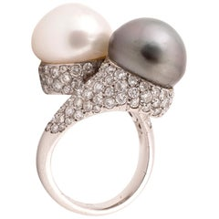 Cultured Pearl and Diamond Crossover Ring