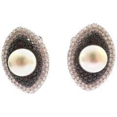 Cultured Pearl, Black Diamonds, White Diamonds Earrings in 18 Karat White Gold