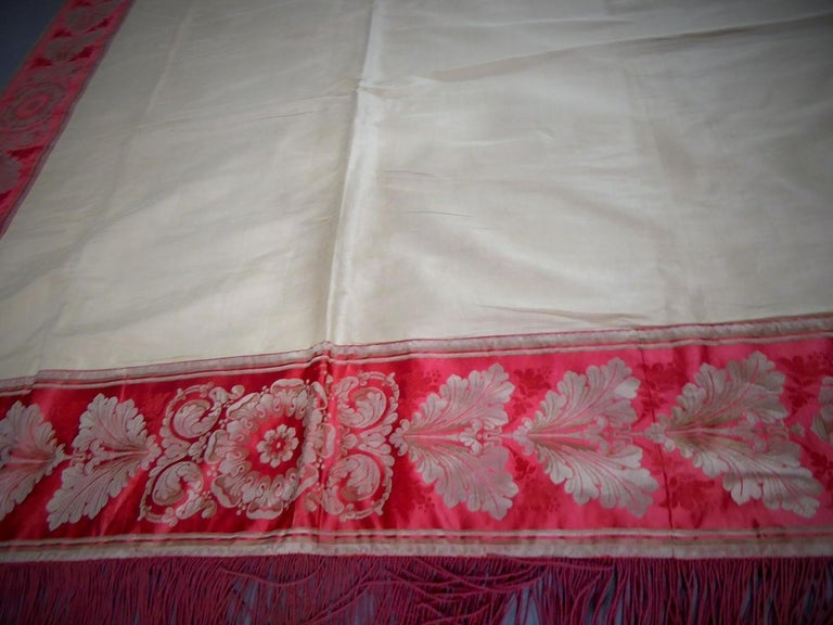 A Curtain in Cream Taffeta and Border in Red and Silver Lampas French Circa 1830 For Sale 7