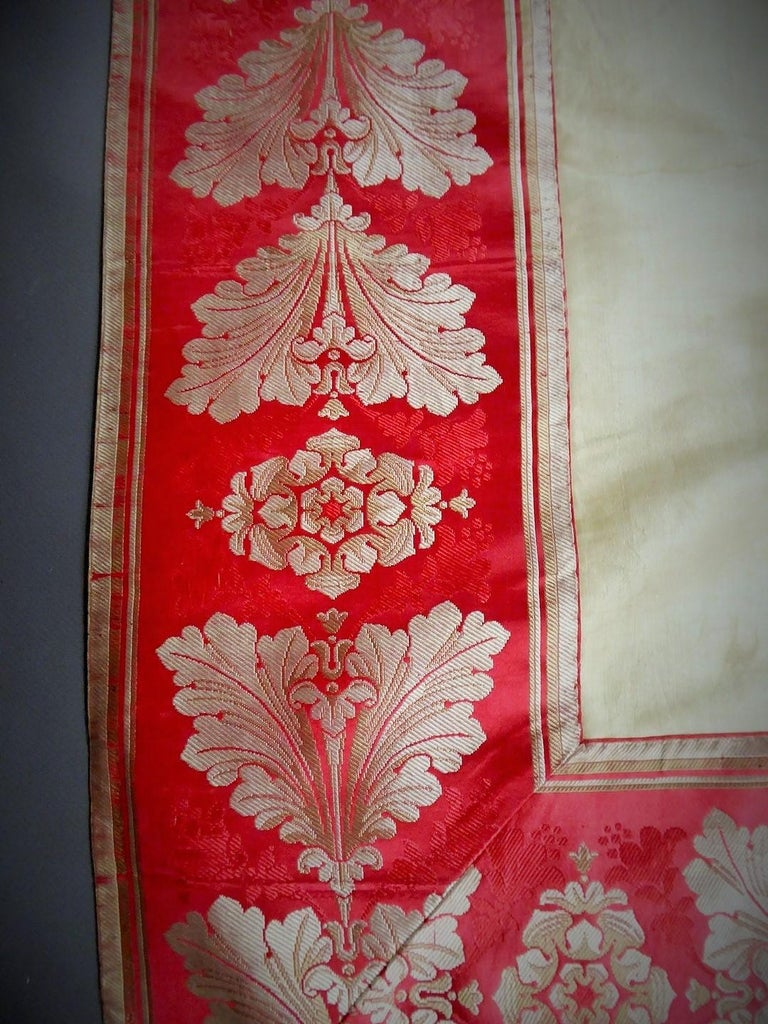 Brown A Curtain in Cream Taffeta and Border in Red and Silver Lampas French Circa 1830 For Sale