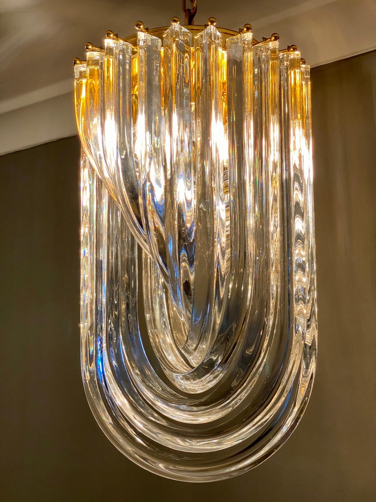 Curvati Murano Glass Chandelier In Good Condition For Sale In London, GB