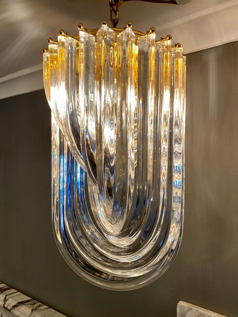 20th Century Curvati Murano Glass Chandelier For Sale