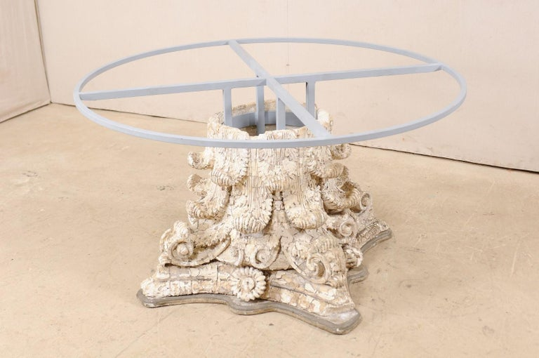 Custom Round-Shaped Zinc Top Table with an Early 20th Century Capital Base For Sale 5