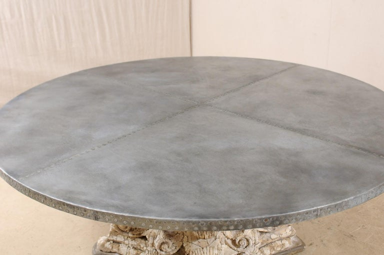 Custom Round-Shaped Zinc Top Table with an Early 20th Century Capital Base For Sale 1