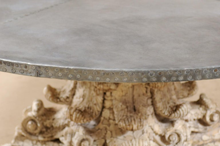 Custom Round-Shaped Zinc Top Table with an Early 20th Century Capital Base For Sale 2