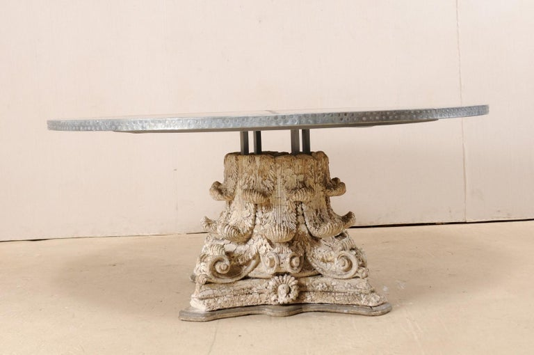 Custom Round-Shaped Zinc Top Table with an Early 20th Century Capital Base For Sale 3