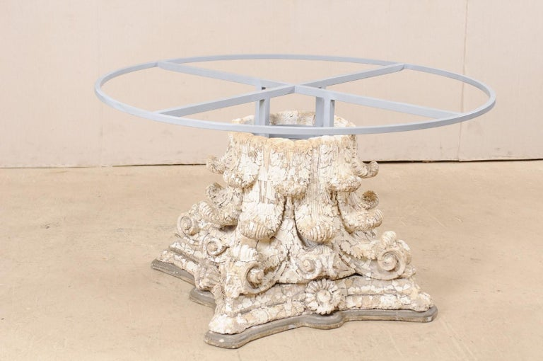 Custom Round-Shaped Zinc Top Table with an Early 20th Century Capital Base For Sale 4