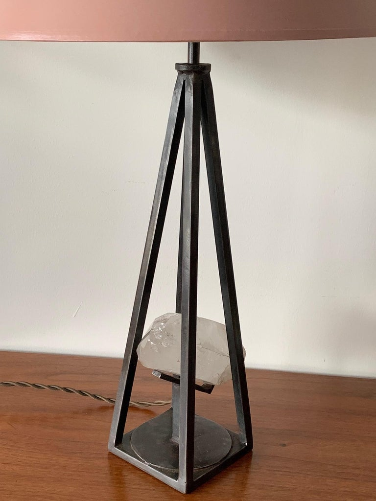 Custom Steel and Rock Crystal Table Lamp For Sale 3