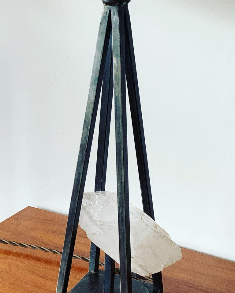 A custom, unique patinated steel and vintage rock crystal lamp. Heavy and well made with top materials in the USA .