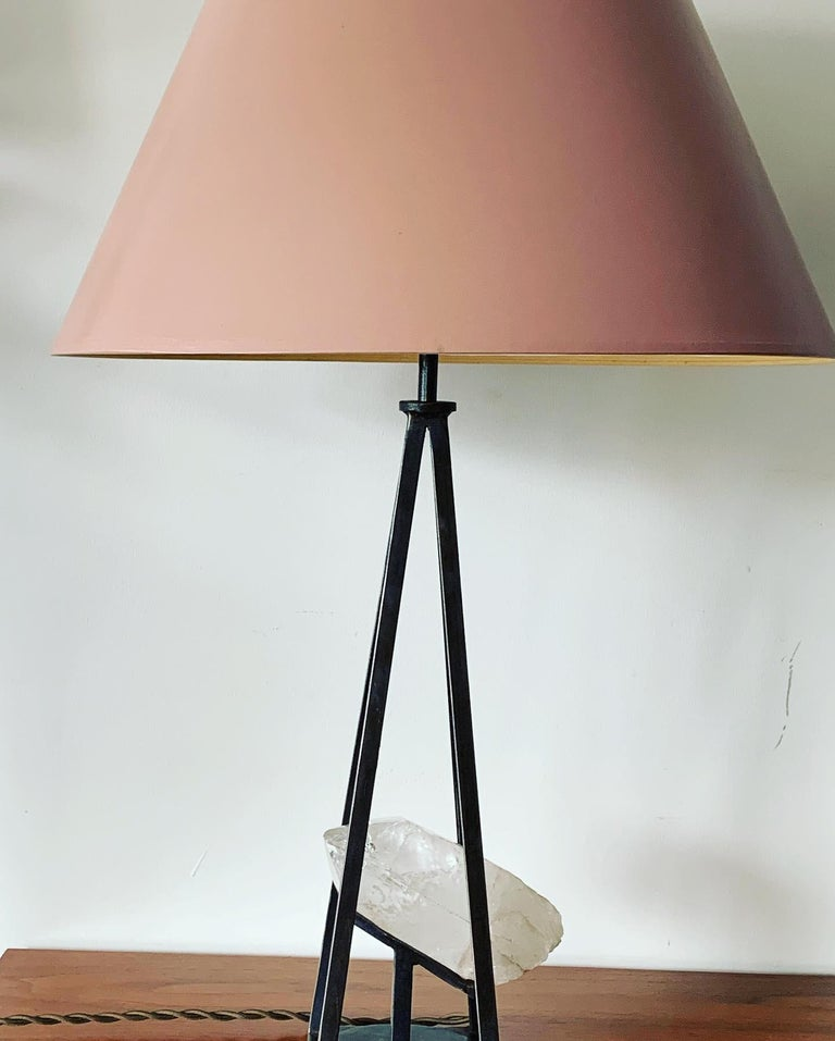 American Custom Steel and Rock Crystal Table Lamp For Sale
