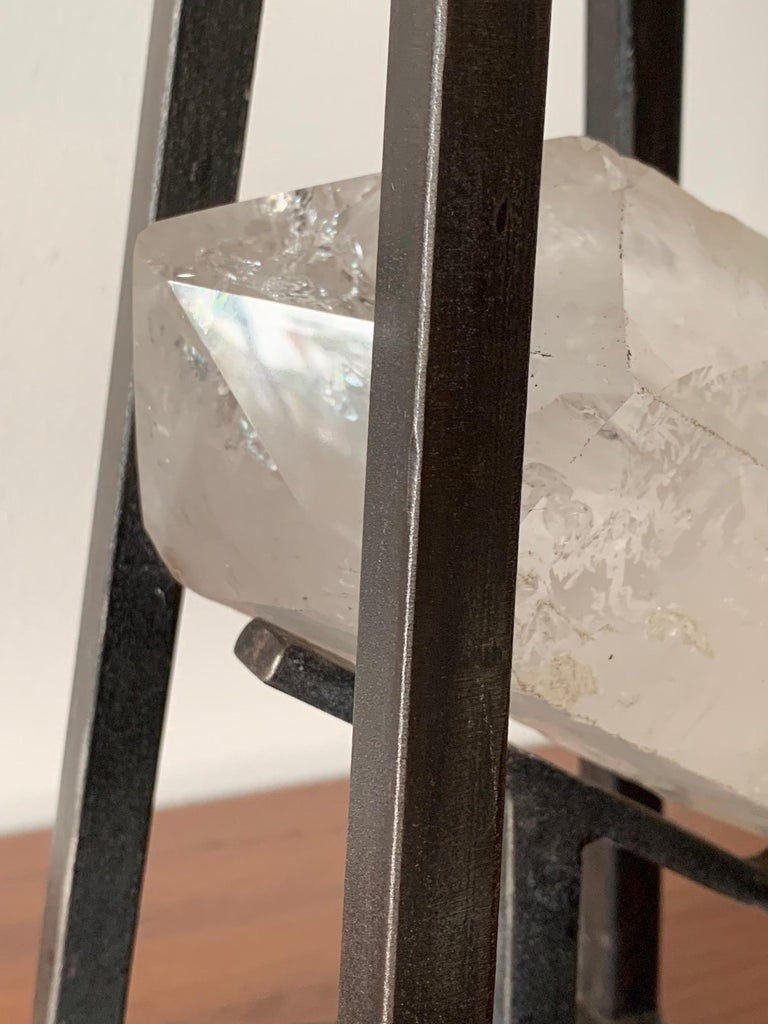Patinated Custom Steel and Rock Crystal Table Lamp For Sale
