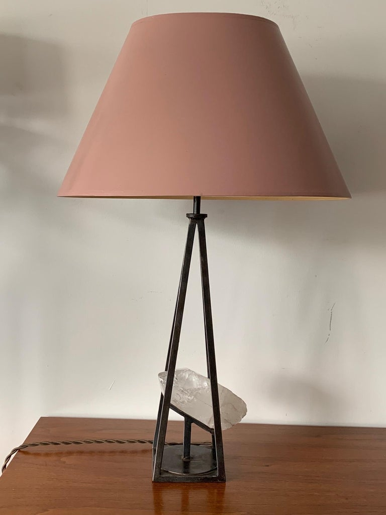 Custom Steel and Rock Crystal Table Lamp In Good Condition For Sale In St.Petersburg, FL
