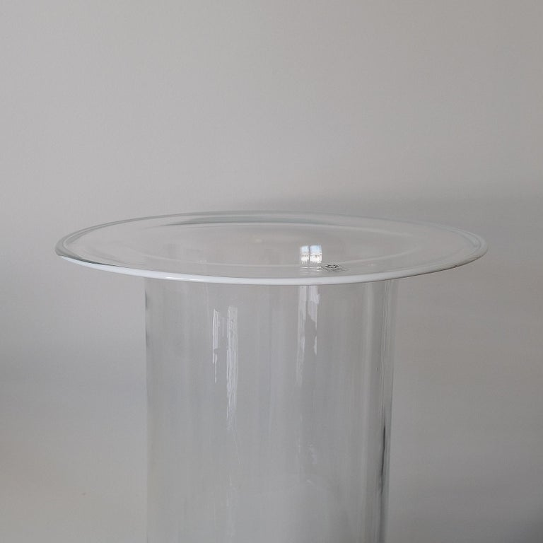 Italian Cylindrical Glass Vase, Leucos, Italy, 60s For Sale