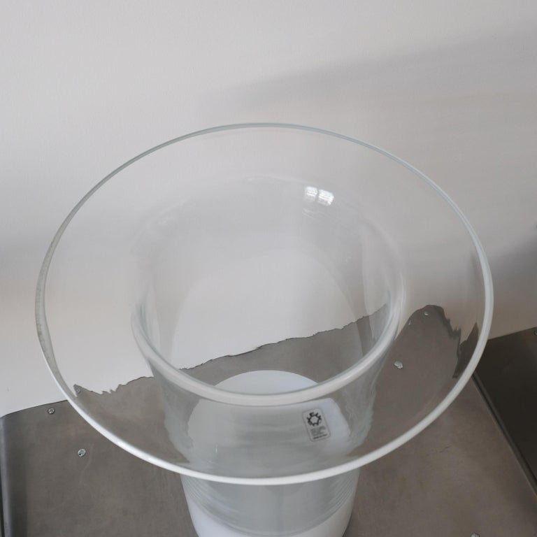 Cylindrical Glass Vase, Leucos, Italy, 60s For Sale 1