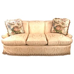 Damask Finely Upholstered Couch or Sofa Having Two Custom Cushions