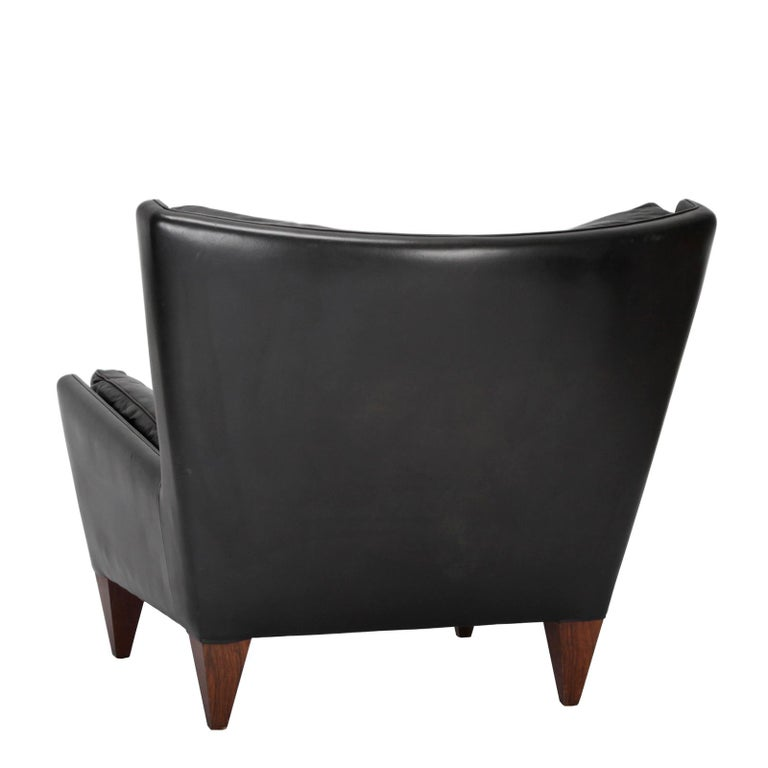 20th Century Danish Easy Chair with Ottoman, Designed by Illum Wikkelsø