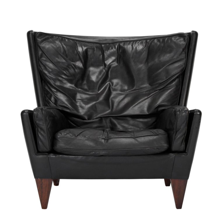Leather Danish Easy Chair with Ottoman, Designed by Illum Wikkelsø