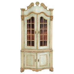 Danish Rococo Giltwood and Painted Corner Vitrine Cupboard, Mid-18th Century