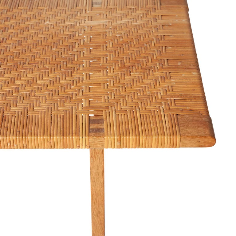 Caning Danish Table Bench in Oak and Cane by Børge Mogensen For Sale