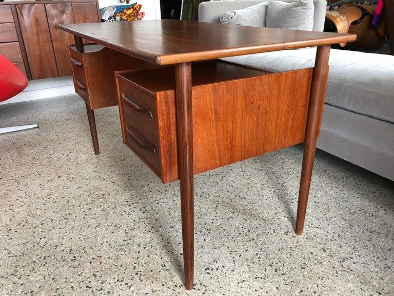 Mid-Century Modern Danish Teak Desk by Pedersen with Floating Top For Sale