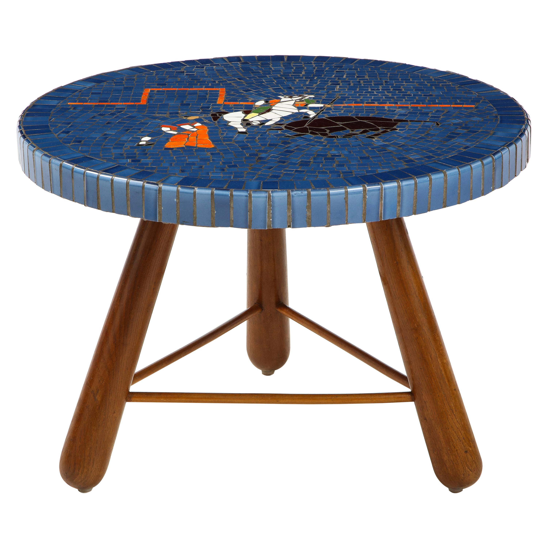 Danish Tile Top and Oak Side Table, Circa 1940-1950