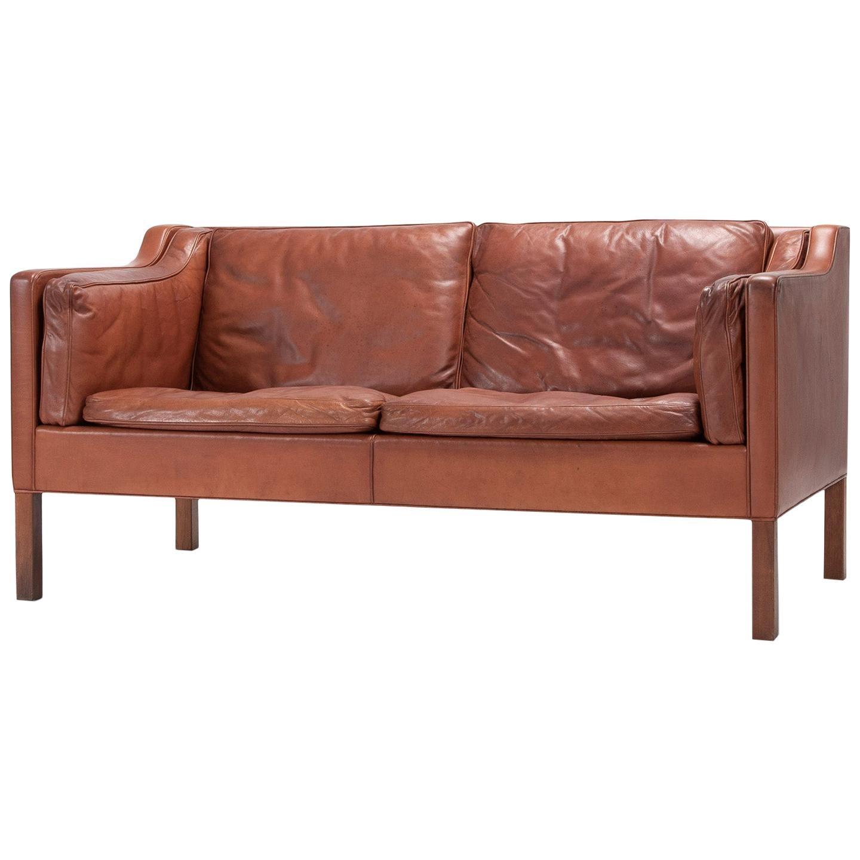 Danish Two-Seat Sofa with Original Leather