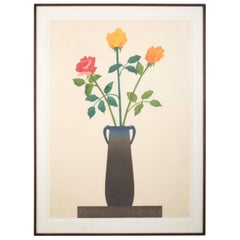 """A Dark Pot with Roses"" 'Tyler 77' Woodcut by Ed Baynard"