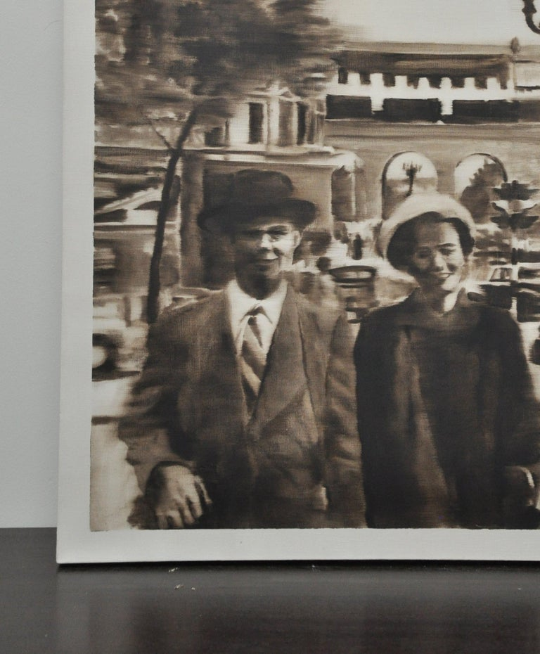 A unique sepia oil painting on canvas from a vintage photo of a couple on a paris street