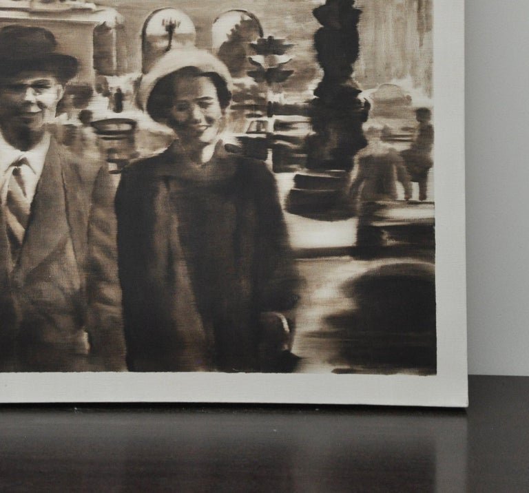 Sepia Oil Painting of Couple on a Paris Street In Good Condition For Sale In Geneva, IL
