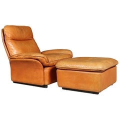 De Sede Leather Armchair and Foot Stool Model DS49