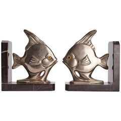 Déco White Metal Bookends, France, 1930