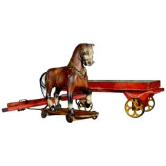Decorative Antique 19th Century Painted Polychrome Folk Carved Pull Horse Toy