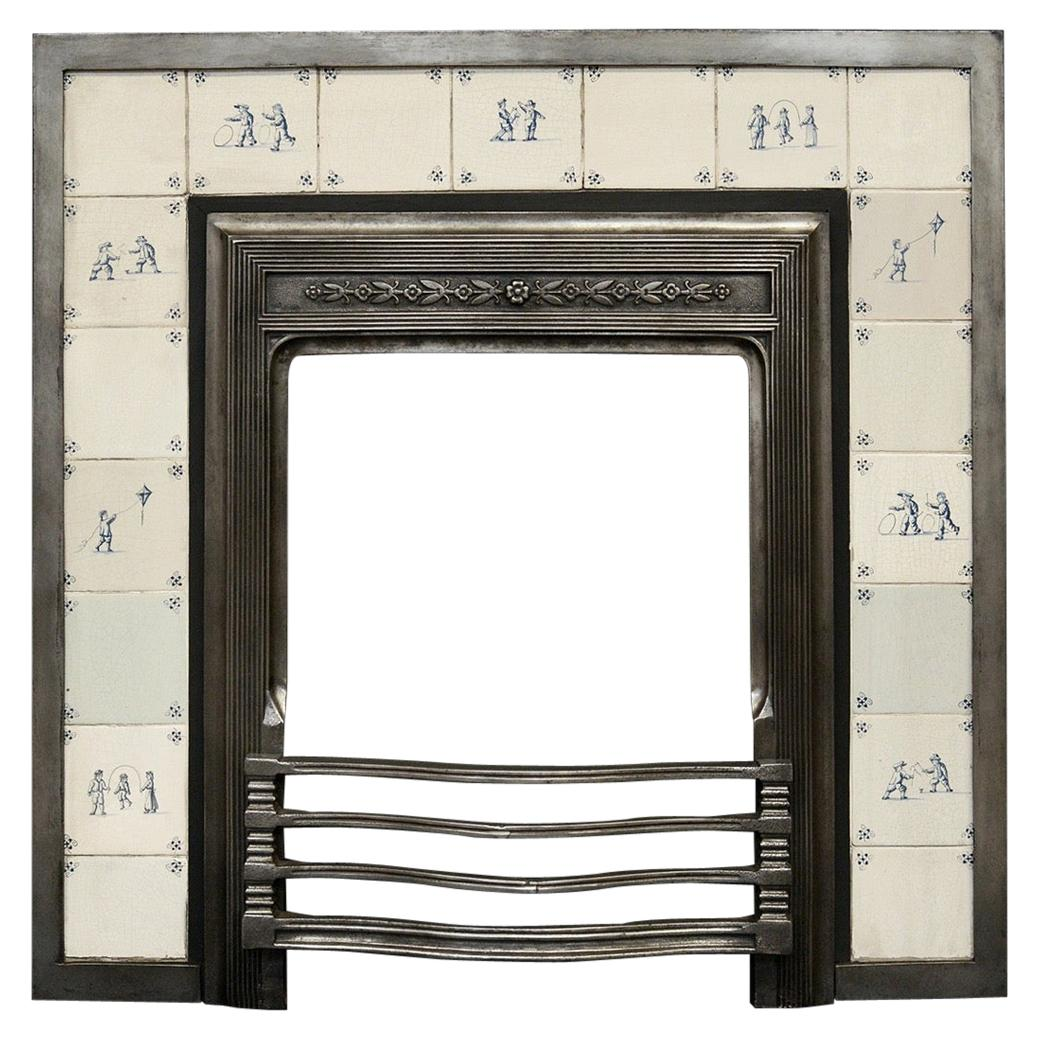 Decorative Cast Iron Fireplace Insert with Delft Tiles
