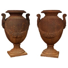Decorative Pair of Cast Iron Garden Vases in the Early 19th Century Style