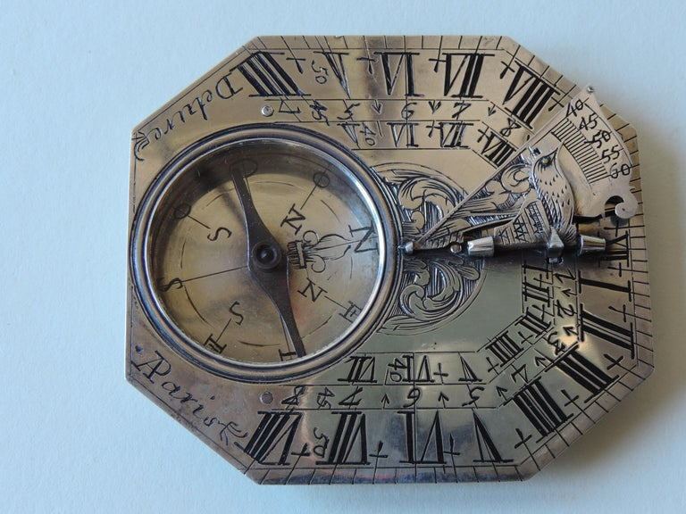 Louis XV Delure Silver Butterfield Dial, Early 18th Century For Sale