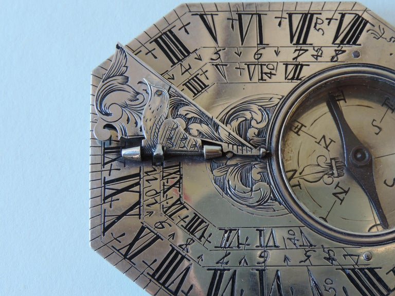 French Delure Silver Butterfield Dial, Early 18th Century For Sale