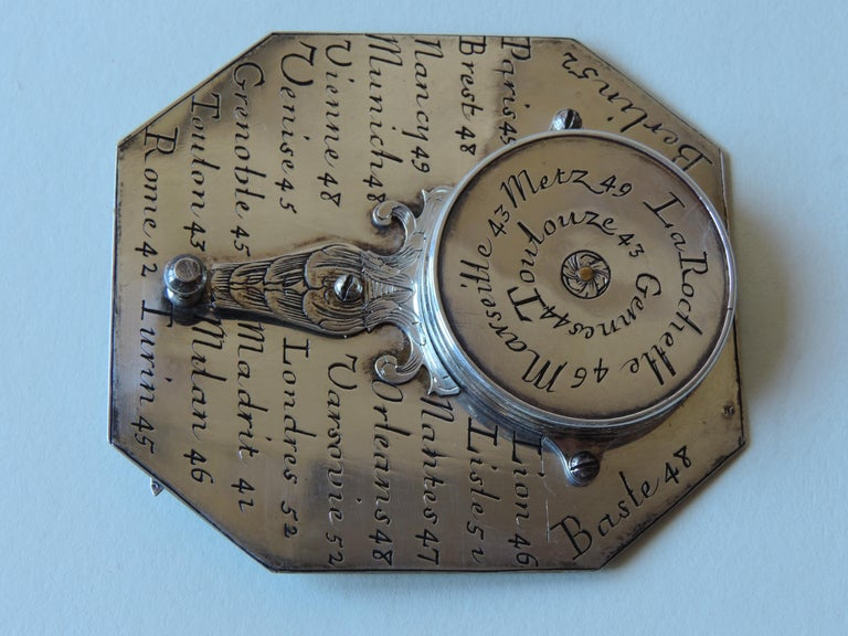 Carved Delure Silver Butterfield Dial, Early 18th Century For Sale