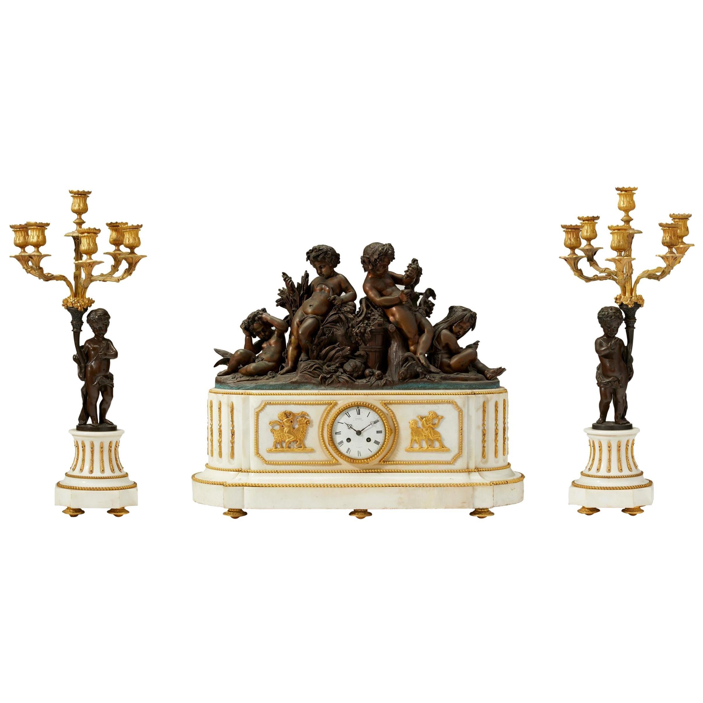 Deniere France White Marble and Gilt Bronze Clock Set