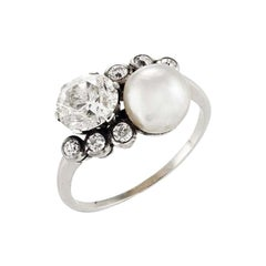 Art Deco' Diamond and Natural Pearl Crossover Ring