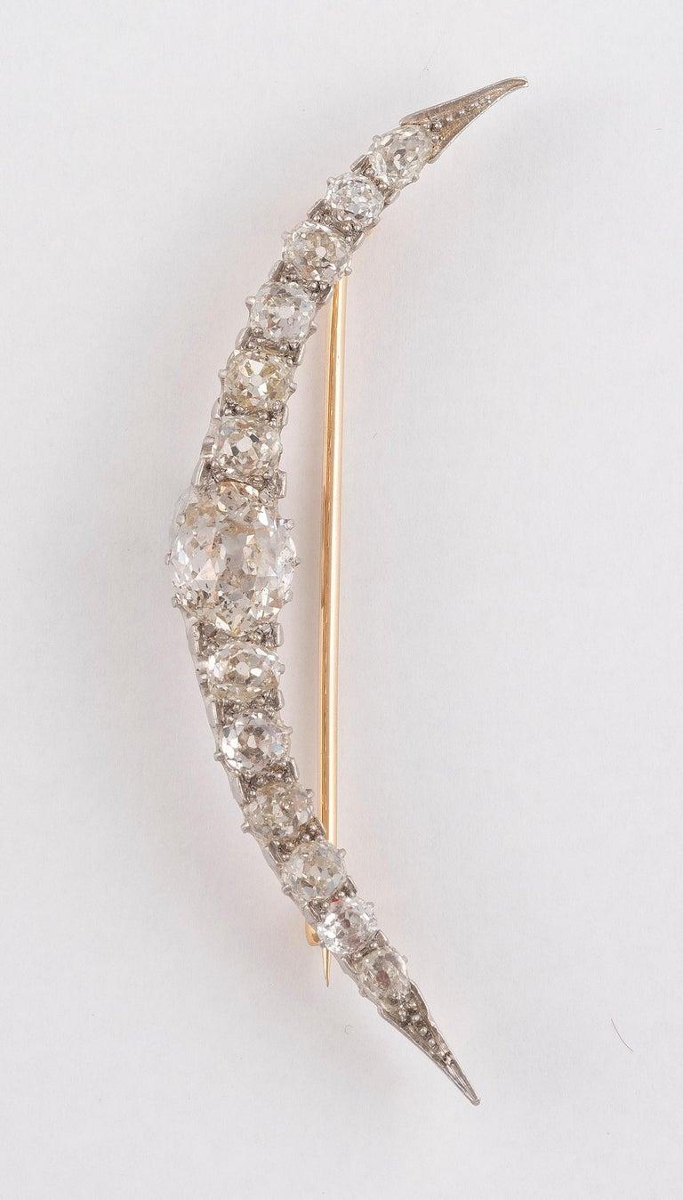 Victorian Diamond Crescent Brooch, circa 1900 For Sale