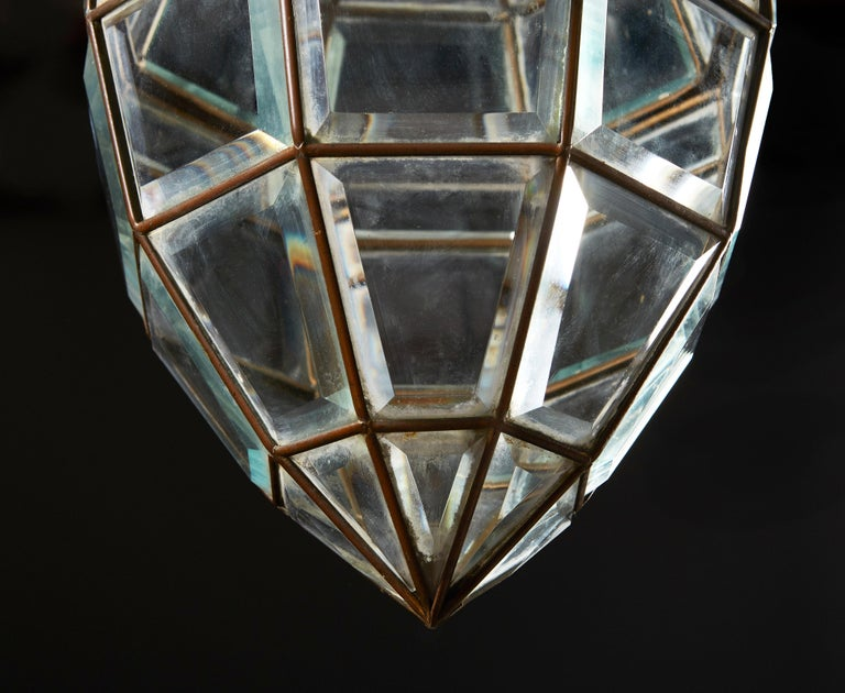 A Diamond Form Glass Pendant Hanging Light In Good Condition In London, GB